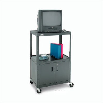"Da-Lite Pixmate Advance Height Adjustable Shelf Cart with Cabinet [34"" - 54"" Height]"
