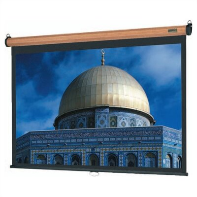 "Da-Lite Natural Walnut Veneer Model B Manual Screen with Matte White Fabric - 100"" diagonal Video Format"