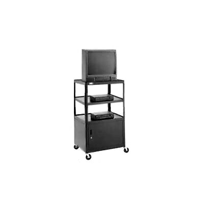 "Da-Lite Pixmobile 25"" x 30"" Shelf Height Adjustable Multi-Shelf Cart With Cabinet [Up to 54"" Height]"