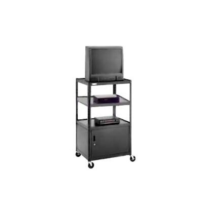 "Da-Lite Pixmate 25"" x 30"" Shelf Adjustable Television Cart With Cabinet [54"" Height]"
