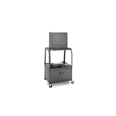 "Da-Lite Pixmate 25"" x 42"" Shelf Height Adjustable Television Cart with Loadtoter Tires [48"" - 52"" Height]"