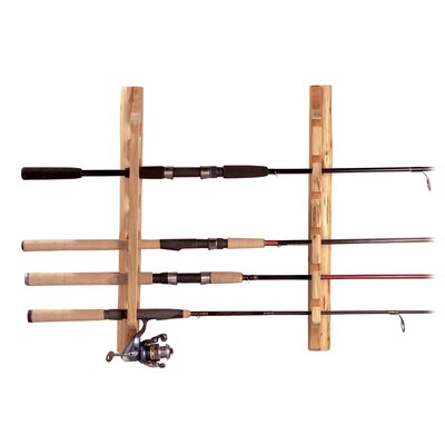 Rush Creek Wall Mount Log Vertical / Horizontal 6 Fishing Rod Rack