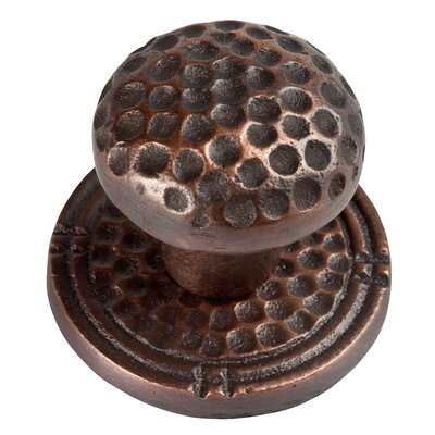The Copper Factory Small Round Hammered Copper Knob with Optional Backplate