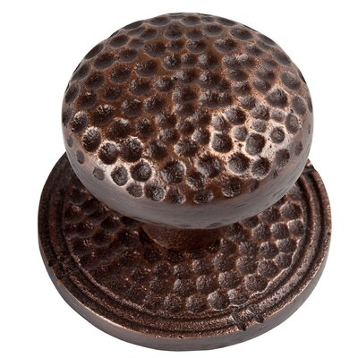 The Copper Factory Large Round Hammered Copper Knob with Optional Backplate