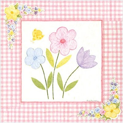 Gingham Flowers I Wall Art