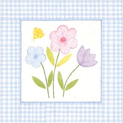 Gingham Flowers III Wall Art