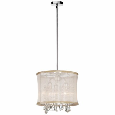 Dainolite 3 Light Crystal Convertible Drum Pendant