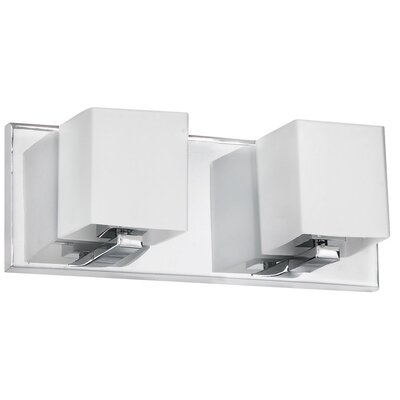 Dainolite Frosted Glass Two Light Bath Vanity in Polished Chrome