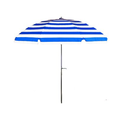 7.5' Steel Marine Striped Patio Umbrella with Crank and Tilt