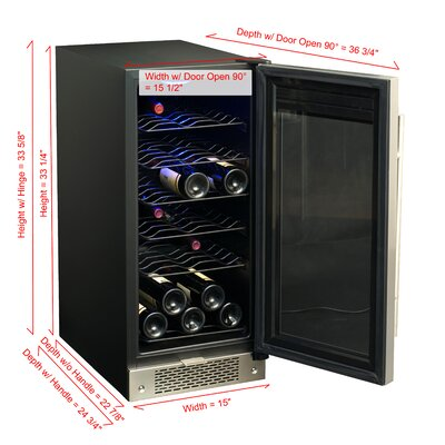 Sunpentown 32 Bottle Under-Counter Wine and Beverage Cooler
