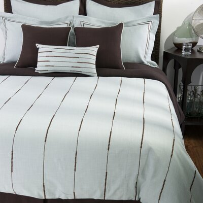 Rizzy Home Elle Bedding Set in Light Blue / Chocolate