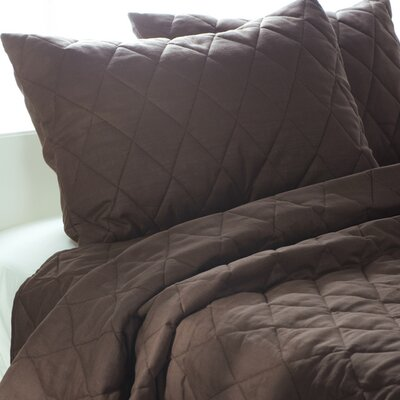 Rizzy Home Solid Quilt 3 Piece Quilt Set in Brown