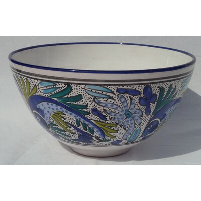 "Le Souk Ceramique Aqua Fish Design 12"" Serving Bowl"
