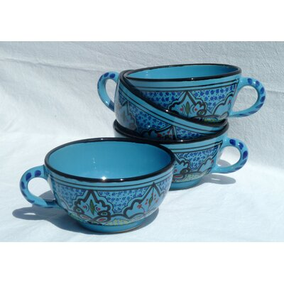 Le Souk Ceramique Sabrine Design 14 oz. Latte and Soup Mug (Set of 4)