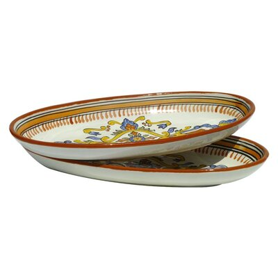 "Le Souk Ceramique Sauvage Design 16"" Oval Platter (Set of 2)"