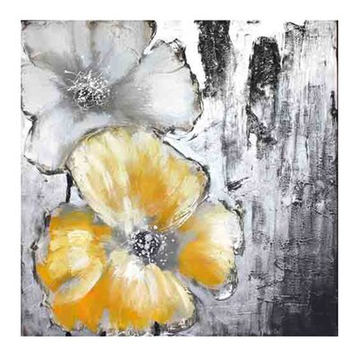 Moe's Home Collection Cream and Yellow Poppies I Canvas Wall Art
