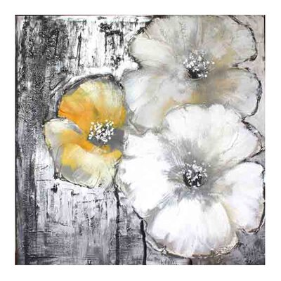 Moe's Home Collection Cream and Yellow Poppies II Painting Print on Canvas