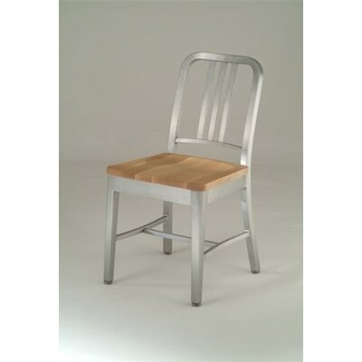 Emeco Natural Wood Seat Navy Dining Chair