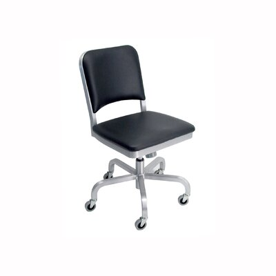 Emeco Navy Mid-Back Upholstered Swivel Office Chair