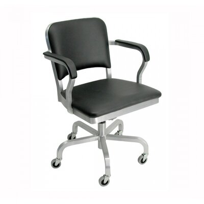 Emeco Navy Mid-Back Upholstered Swivel Office Chair with Arms