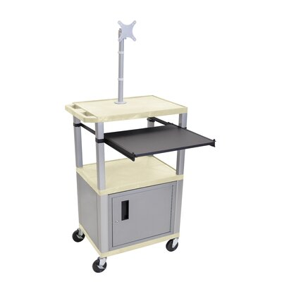 Pullout Shelf Cart with Cabinet Nickel Legs and Mount