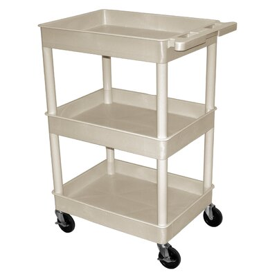 "Luxor Three Tub Shelf Utility Cart with 12"" Shelf Clearance"
