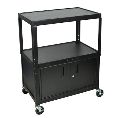 Luxor Extra Wide AV Cart with Cabinet