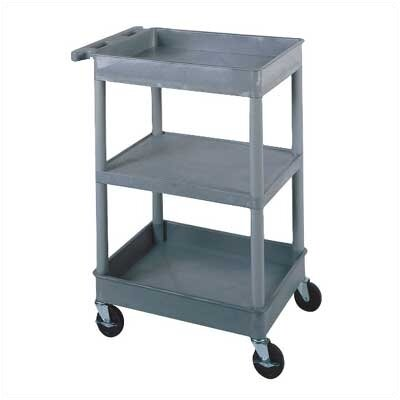 "Luxor 38"" 2 Tub and 1 Flat Shelf Utility Cart"