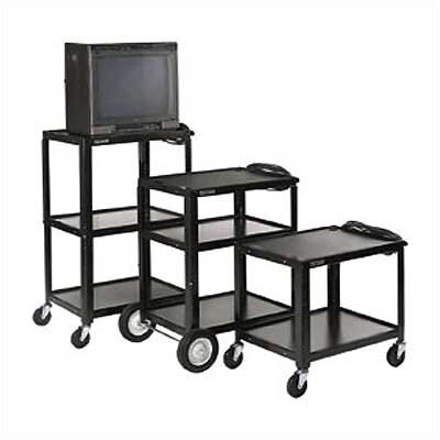 Luxor Open Shelf Fixed Height Table with Big Wheels, Casters and Electric Assembly