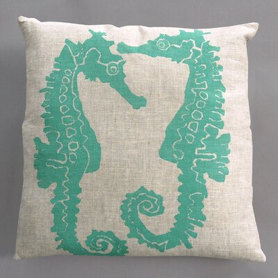 Dermond Peterson Seahorse Turquoise Pillow on Natural Linen