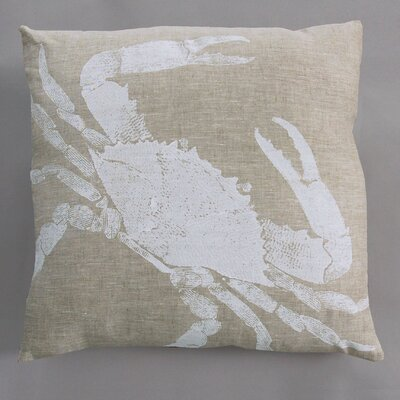 Dermond Peterson Big Crab White Pillow on Natural Linen