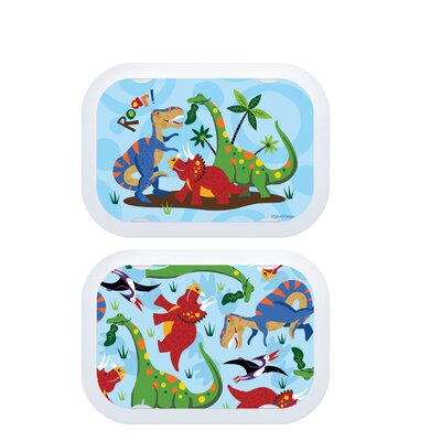 Yubo Deluxe Lunchbox with Dinosaurs Design in Blue