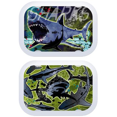 Yubo Deluxe Lunchbox with Sharks Design in Gray