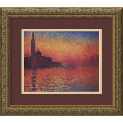 'Dusk, Sunset in Venice' by Claude Monet Framed Painting Print