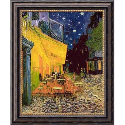 Cafe Terrace at Night by Vincent Van Gogh, Framed Canvas Art - 23.97