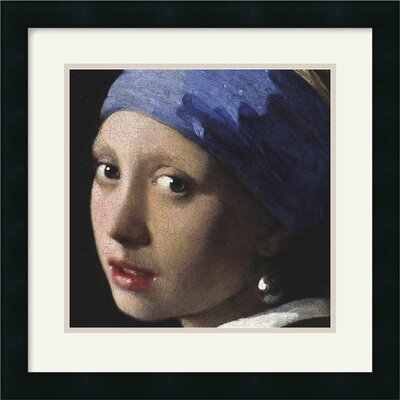 Amanti Art Girl With A Pearl Earring (Detail) Framed Art Print by Johannes Vermeer