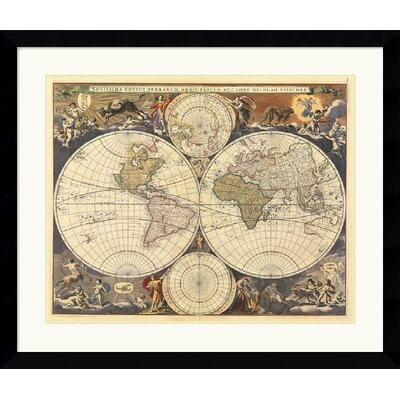 Amanti Art New World Map, 17th Century Framed Art Print by Ria Visscher