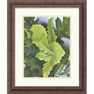 "Amanti Art Green Oak Leaves by Georgia O'Keeffe Framed Fine Art Print - 18.3"" x 15.55"""
