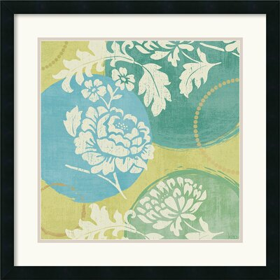 Floral Decal Turquoise I Framed Print by Veronique Charron