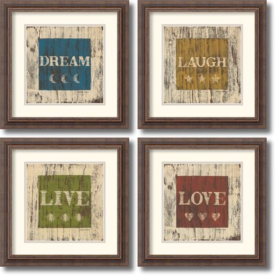 Amanti Art Dream, Laugh, Live, Love Framed Print by Warren Kimble (Set of 4)
