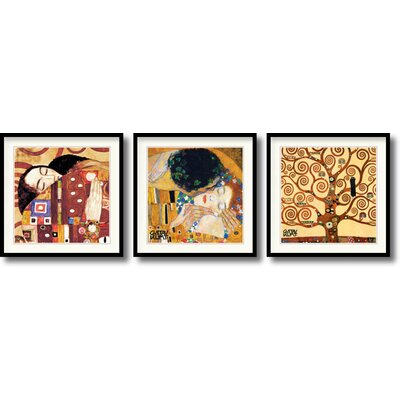 Amanti Art Fulfillment, Kiss and Tree of Life Framed Art Print by Gustav Klimt (Set of 3)