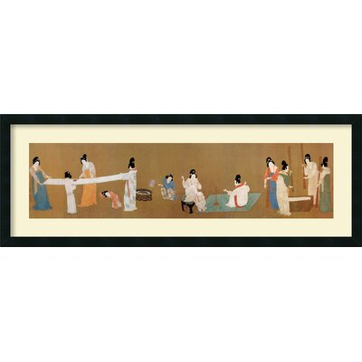 Court Ladies Preparing Newly Woven Silk Framed Print Wall Art