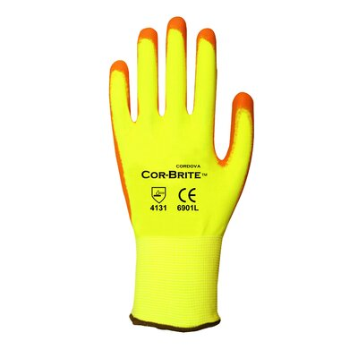 Cordova Polyurethane Coated Hi Vis Work Gloves - Large (Pack of 2)