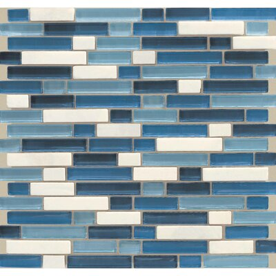 Legacy Glass Random Sized Glazed Linear Glass and Stone Mosaic in Ocean Blend