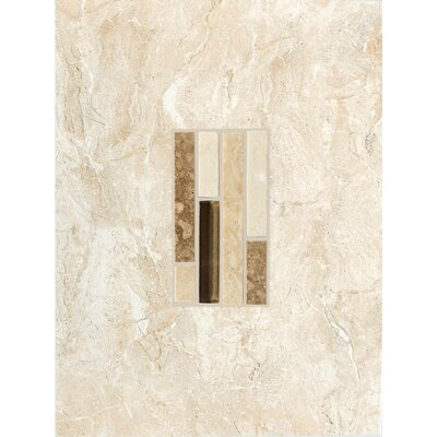 "American Olean Torre Venato 12"" x 9"" Glazed Porcelain Decorative Wall Tile in Crema"