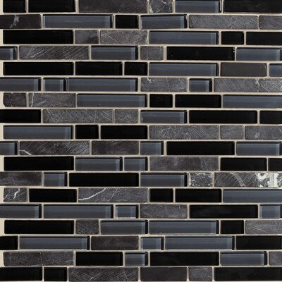 Legacy Glass Random Sized Glazed Linear Glass and Stone Mosaic in Mountain Blend