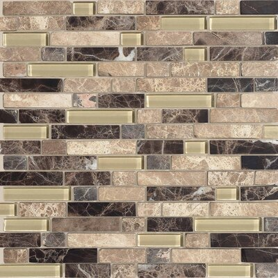 Legacy Glass Random Sized Glazed Linear Glass and Stone Mosaic in Tannery Blend