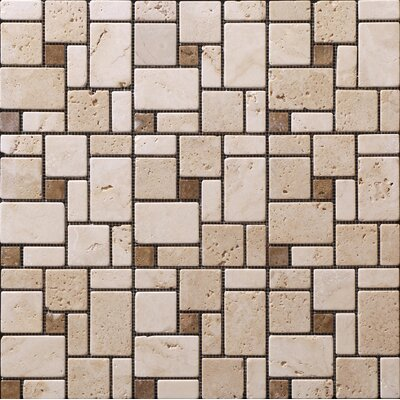 "StoneSkin Traditional Mini 12"" x 12"" Versailles Mosaic in Beige with Noce Dot"