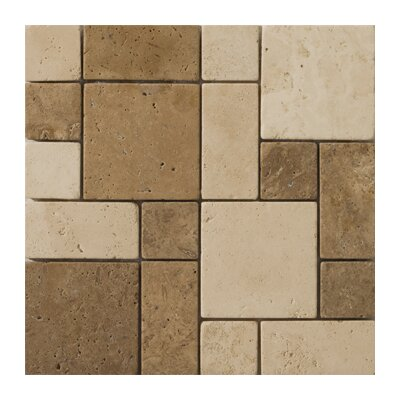 "Emser Tile Natural Stone 12"" x 12"" Travertine Mini Versailles Mosaic in Beige / Mocha"