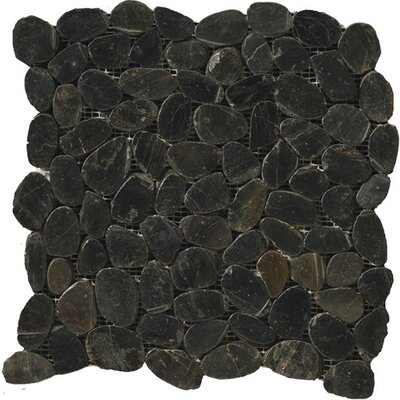 Emser Tile Natural Stone Random Sized Flat Rivera Pebble Mosaic in Black